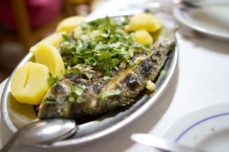 grilled sea bream - traditional portuguese dish
