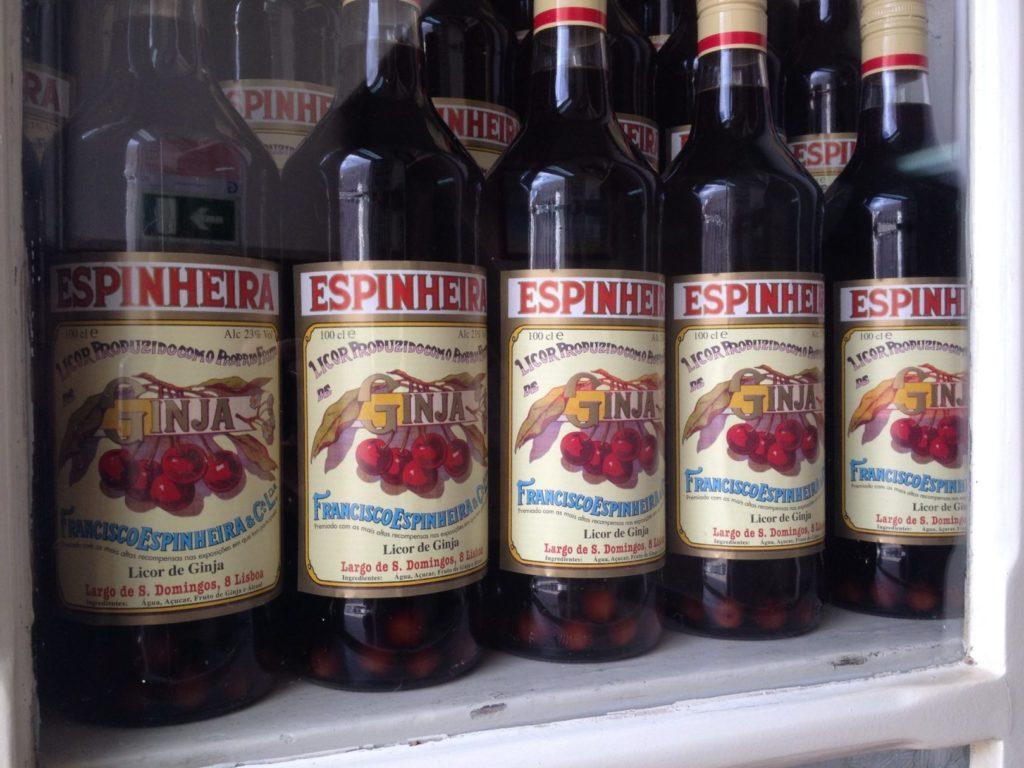 bottle of ginjinha - traditional portuguese liquo