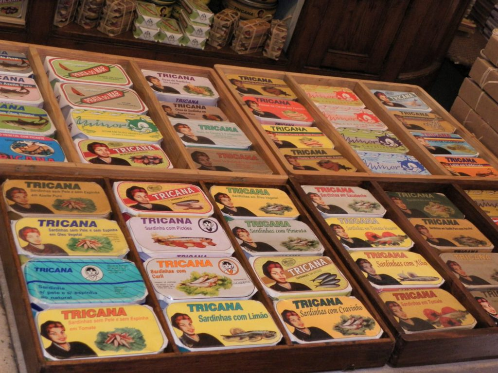 sardine boxes at a traditionnal shop - lisbon