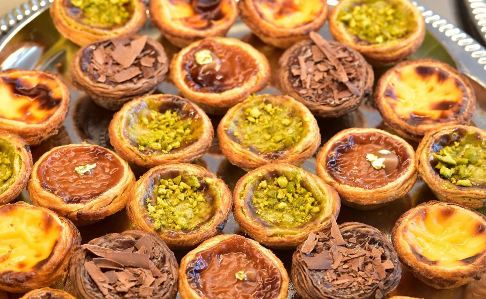 Pistachio - Chocolate - Traditional Natas from Confeitaria Nacional - Lisbon