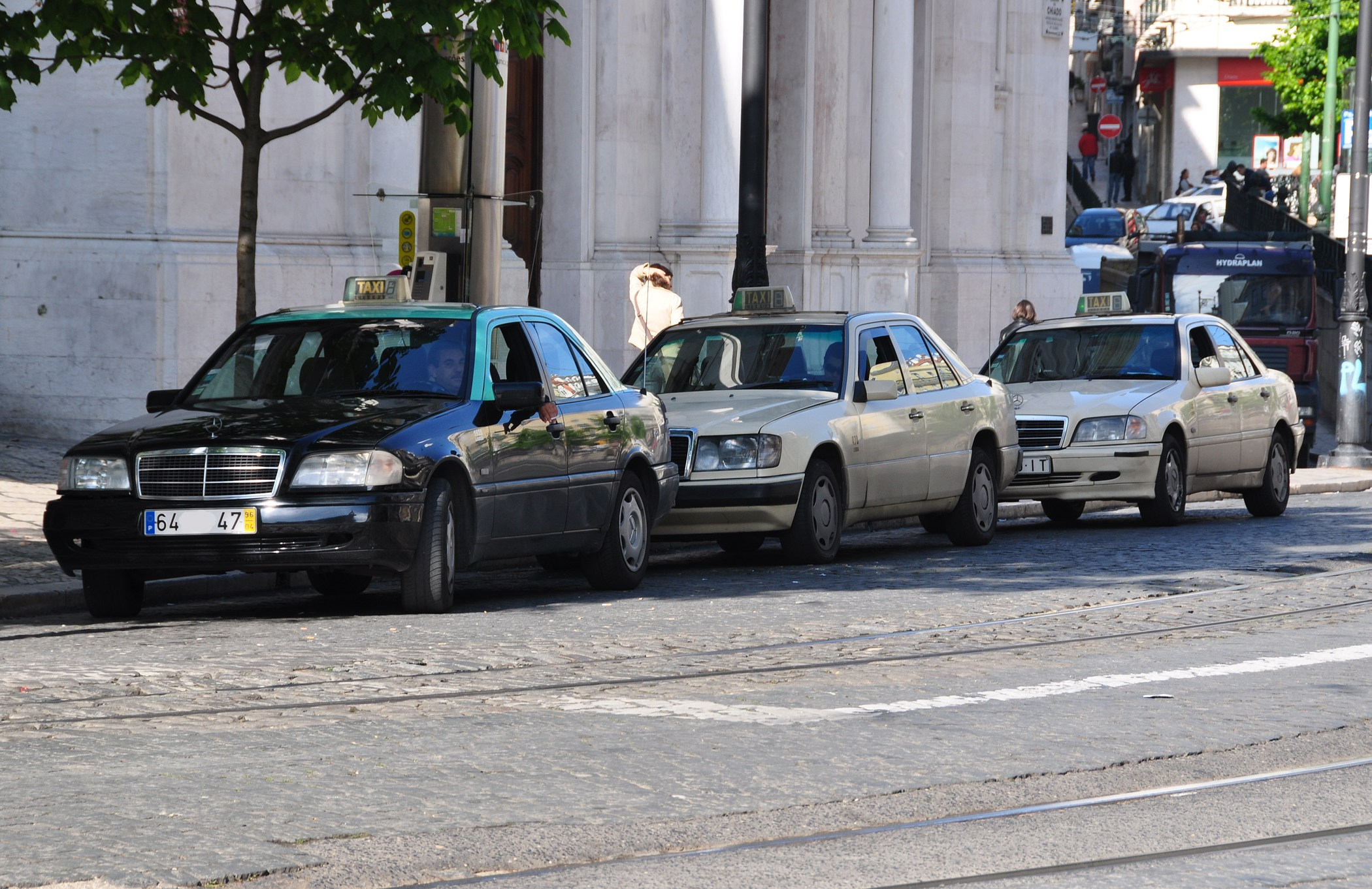 Lisbon taxis waiting for clients