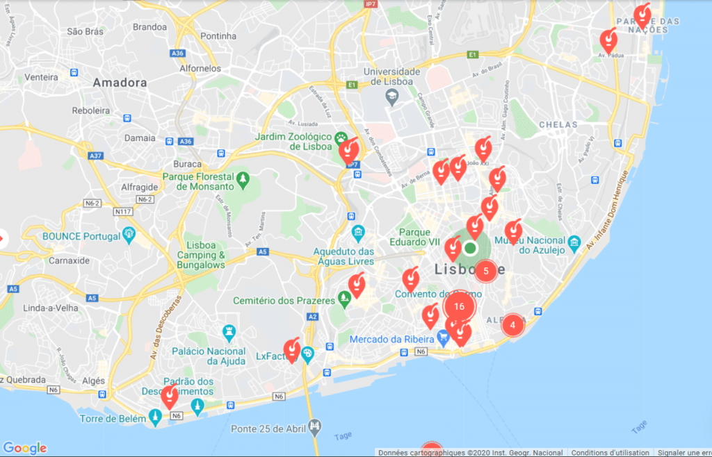 Location map of the luggage storage of Nannybag in Lisbon